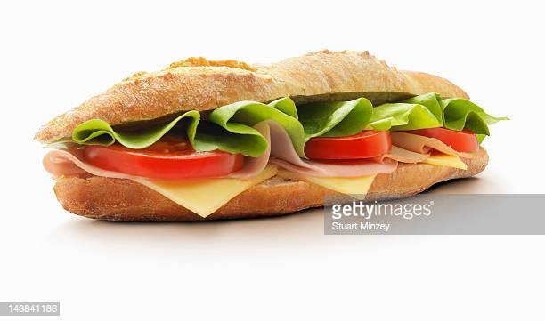 Roll with cheese, tomato, ham and lettuce