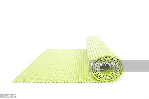 Rolled out yoga mat