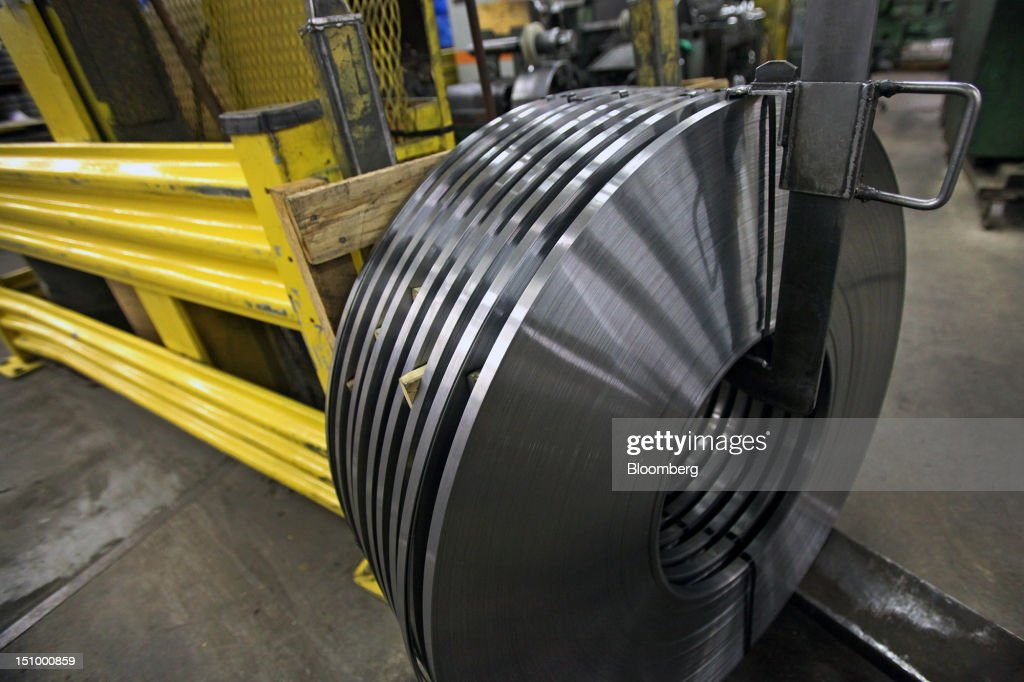 Rolled steel coils for manufacturing band saw blades are displayed after the edging process at DoALL Company's Contour Saws Inc. facility in Des Plaines, Illinois, U.S., on Tuesday, Aug. 28, 2012. The U.S. Census Bureau is scheduled to release factory orders data on Aug. 31. Photographer: Tim Boyle/Bloomberg via Getty Images