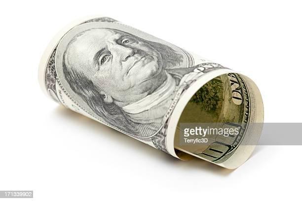 Rolled Up Hundred Dollar Bill