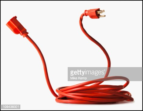 Rolled up red power cord