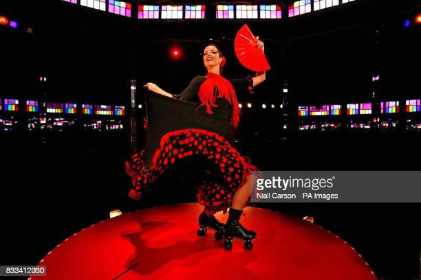 Roller blading Flamenco dancer Amy G from the La Clique preformance group launches the calender of events at Dublin Fringe Festival's Spiegle tent