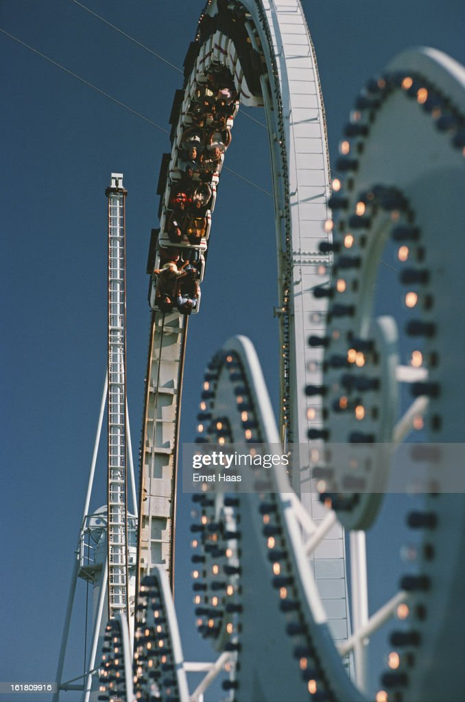 A roller coaster at an amusement park in Chicago, Illinois, June 1978.