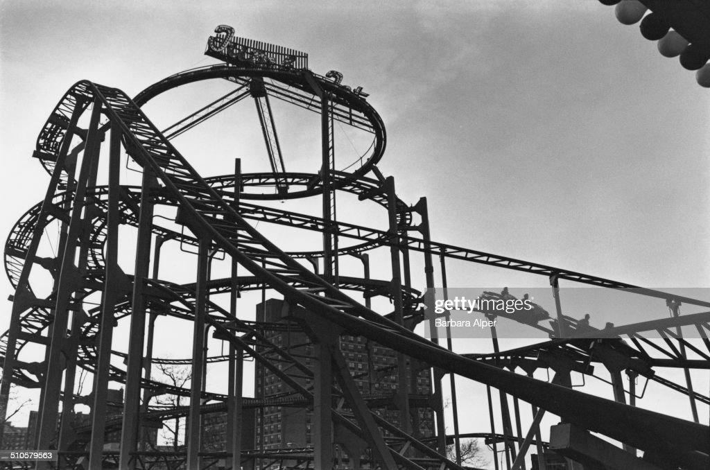 A roller coaster at Coney Island, New York City, USA, 13th April 1980.