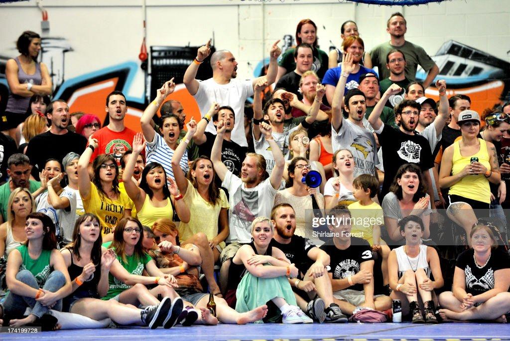Roller derby fans watch the Mens European Roller Derby Championships at Futsal on July 21, 2013 in Birmingham, England.