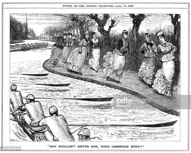 Roller skating very much in fashion Lady students from Girton on the towpath waving to oarsmen rowing on the river George du Maurier cartoon from...