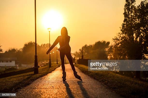 Roller skating woman
