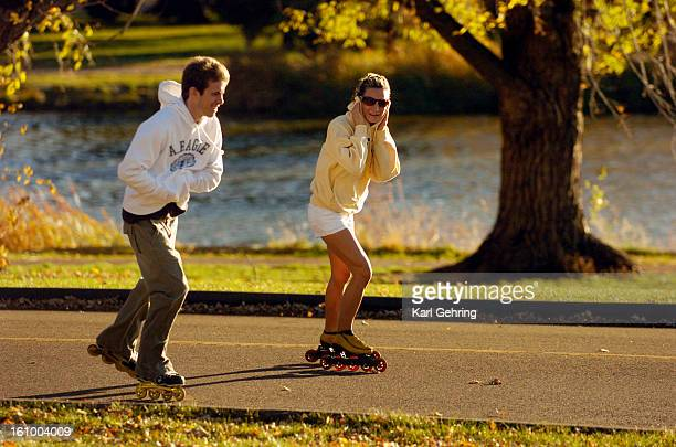 Rollerbladers Carey Pearsall left in the white sweatshirt and Moriah Orsinger right skated into a fierce headwind Saturday afternoon in south Denver...