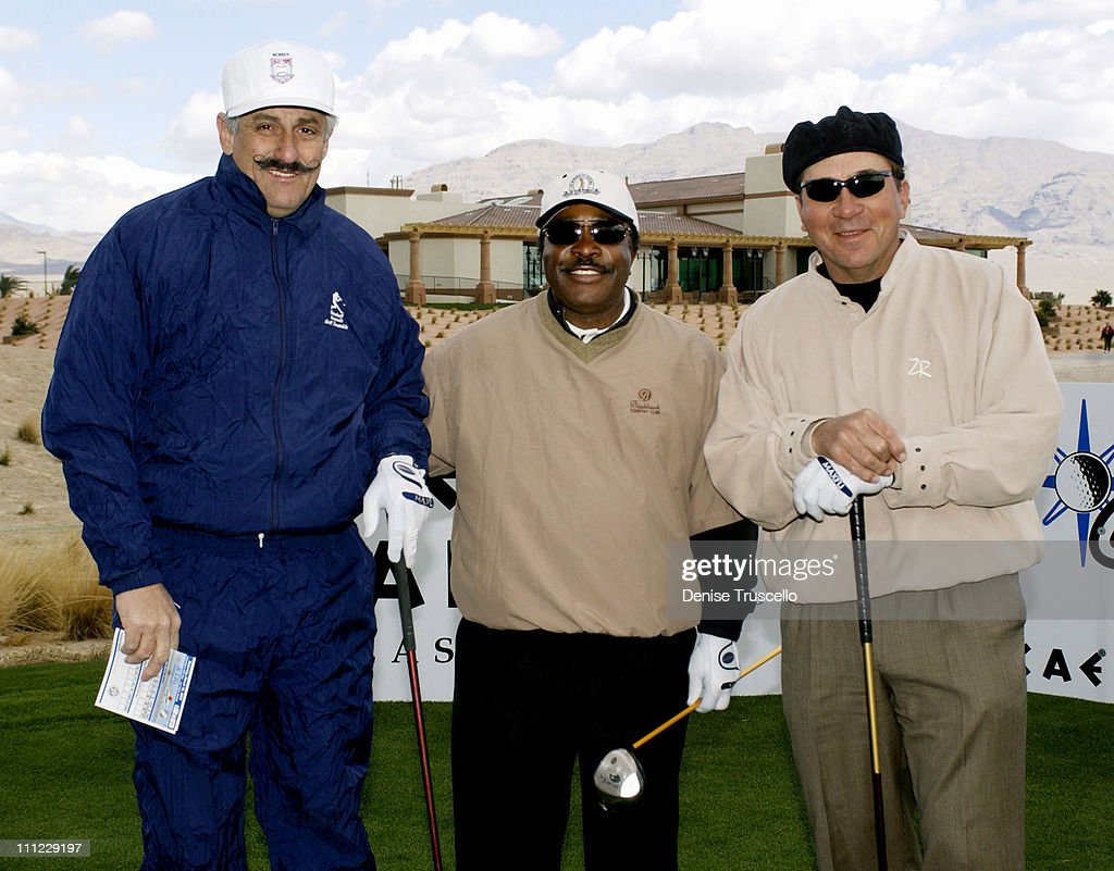 Rollie Fingers, Joe Morgan and Johnny Bench during Las Vegas Celebrity Classic Golf Tournament at Silverstone Golf Course in Las Vegas, Nevada, United States.