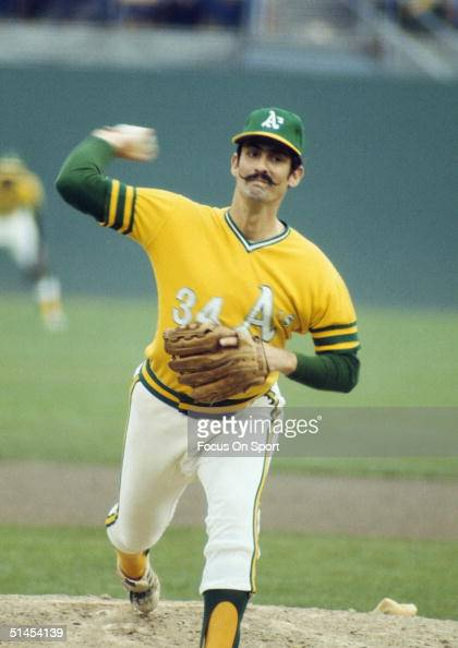 Rollie Fingers of the Oakland Athletics pitches during the World Series against the Cincinnati Reds at Oakland Coliseum on October 1972 in Oakland...