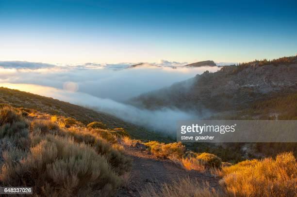 Rolling clouds below Mount Teide in Tenerife