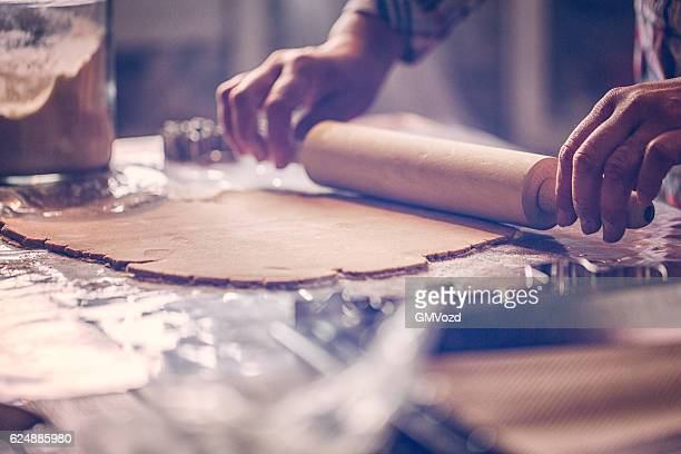 Rolling Gingerbread Dough for Christmas Baking