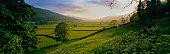 Rolling hills and pastures in rural landscape