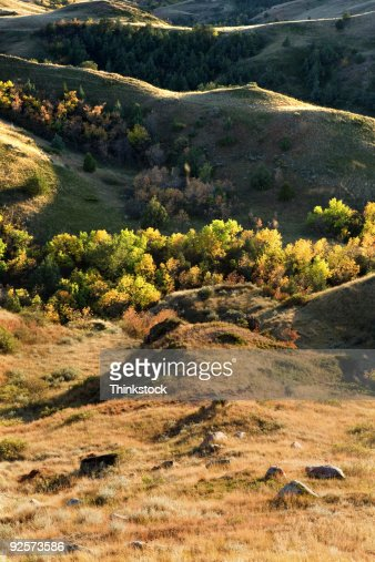 Rolling Hills And Vegetation North Dakota Stock Photo