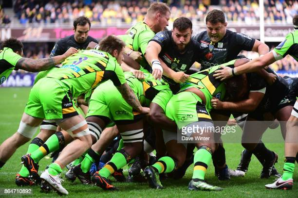 A rolling maul during the European Rugby Champions Cup match between Clermont Auvergne and Northampton Saints on October 21 2017 in Clermont France