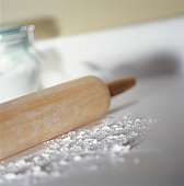 Rolling pin and flour, (Close-up)