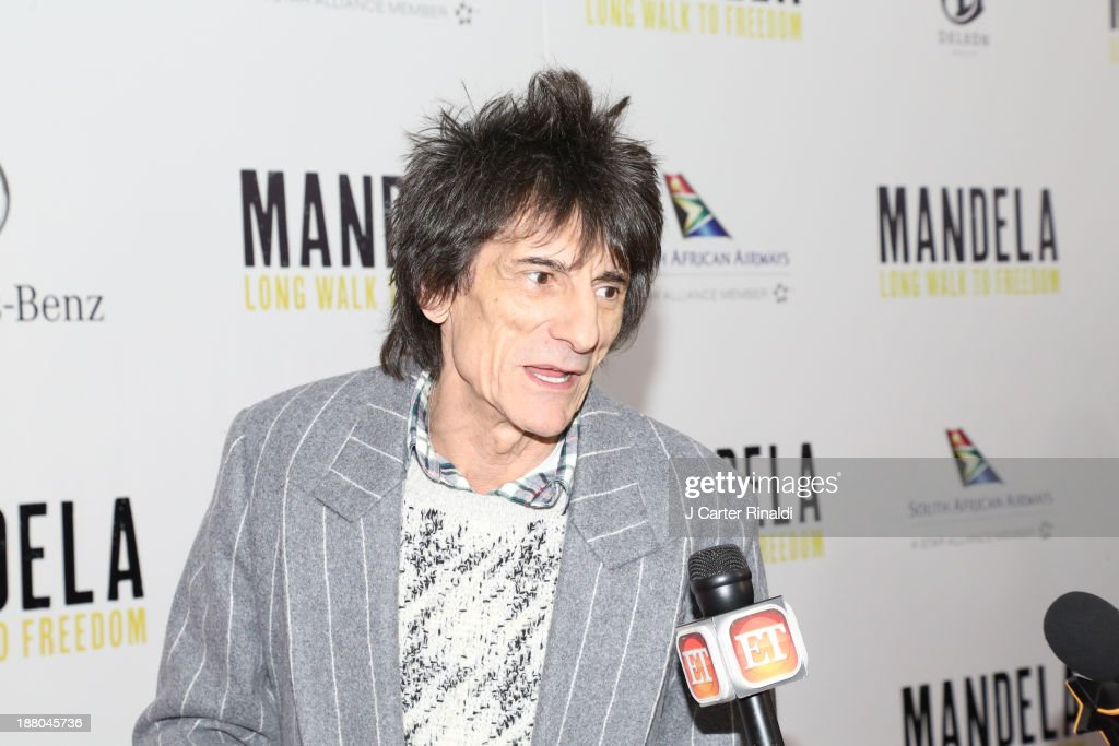 Rolling Stone Ronnie Wood attends the screening of 'Mandela: Long Walk to Freedom' hosted by The Weinstein Company, Yucaipa Films & Videovision Entertainment, supported by Mercedes-Benz, South African Airways & DeLeon Tequila at Alice Tully Hall, Lincoln Center on November 14, 2013 in New York City.