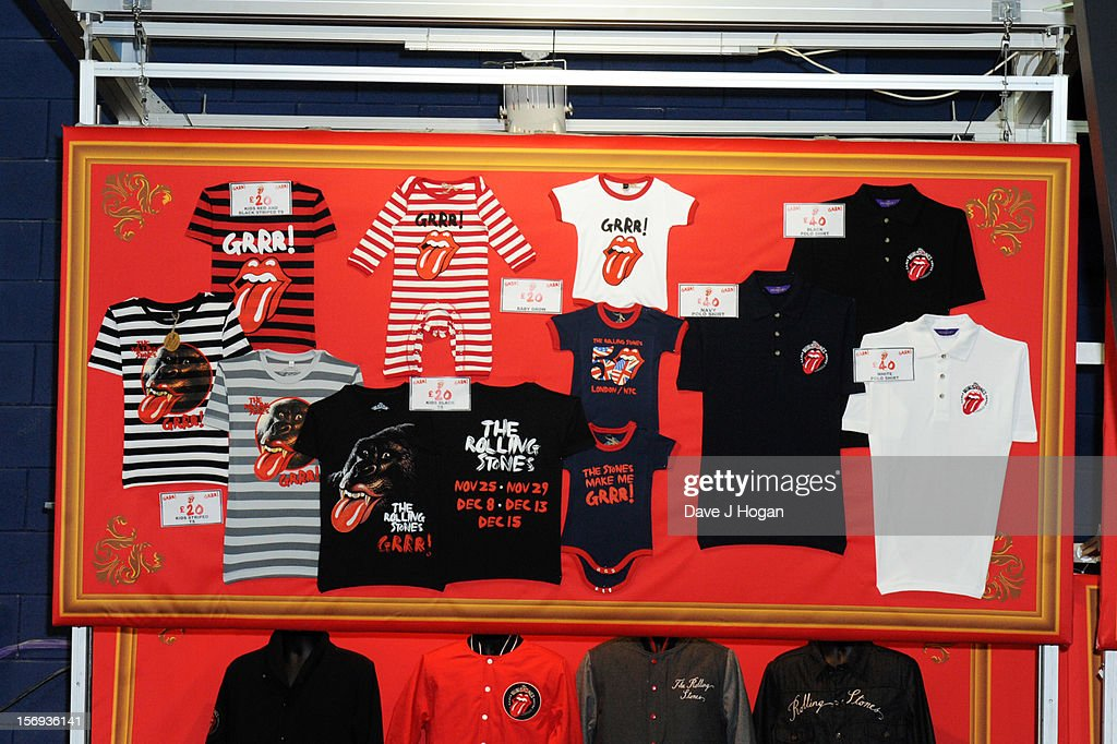 Rolling Stones baby clothes for sale prior to the Rolling Stones performing at 02 Arena on November 25, 2012 in London, England.