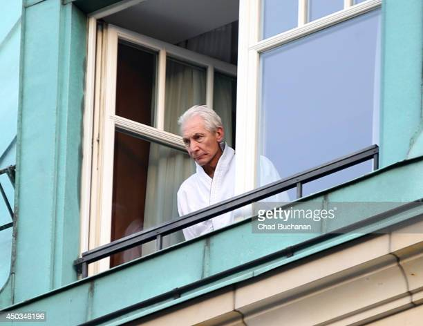 Rolling Stones drummer Charlie Watts sighted at the Adlon Hotel on June 8 2014 in Berlin Germany