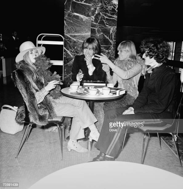 Rolling Stones guitarist Brian Jones with his girlfriend actress Anita Pallenberg and Marianne Faithfull at Heathrow Airport 11th March 1967 They are...