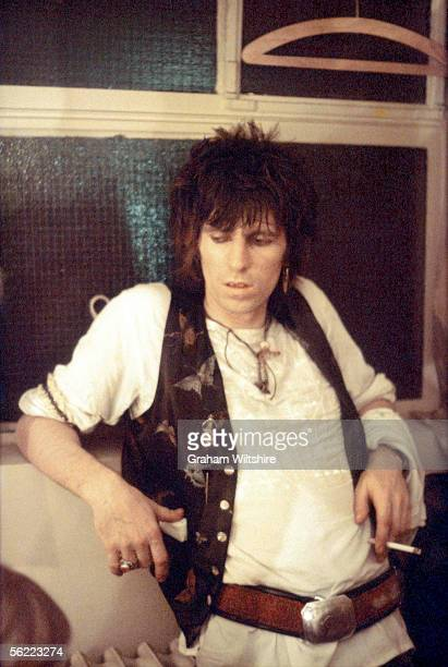 Rolling Stones guitarist Keith Richards at the Kilburn State Gaumont Theatre London where he played a concert with Ronnie Wood and his band 13th July...