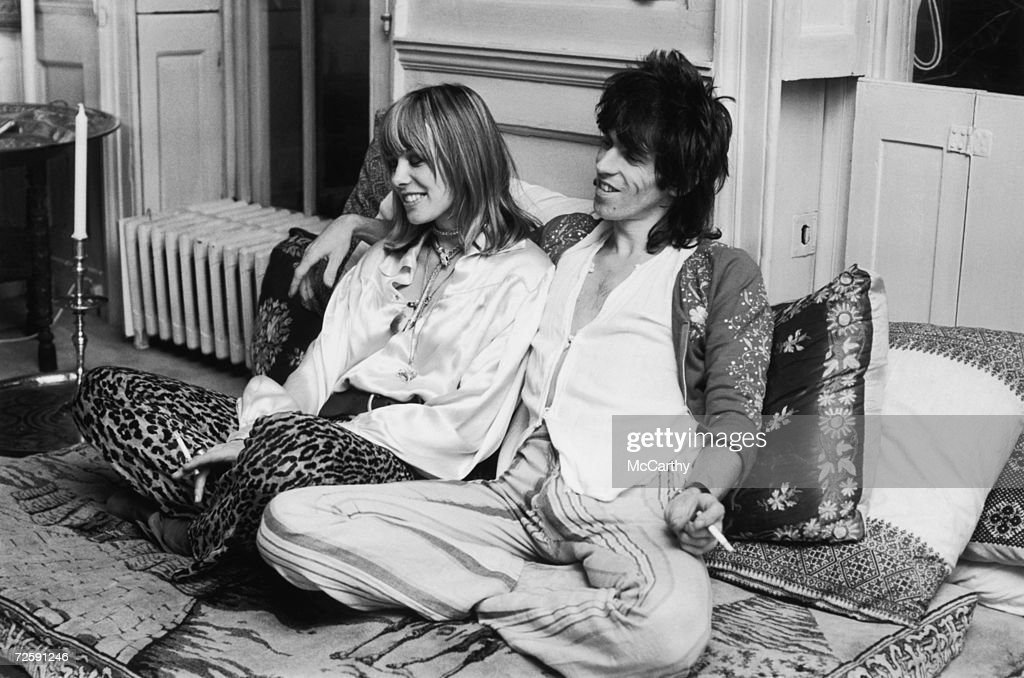 Rolling Stones guitarist <a gi-track='captionPersonalityLinkClicked' href=/galleries/search?phrase=Keith+Richards+-+Musician&family=editorial&specificpeople=202882 ng-click='$event.stopPropagation()'>Keith Richards</a> with German actress Anita Pallenberg at home in Cheyne Walk, Chelsea, London, 9th December 1969.