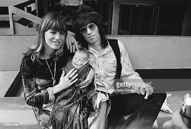 Rolling Stones guitarist Keith Richards with his girlfriend Anita Pallenberg and their baby son Marlon Kings College Hospital in London 19th August...