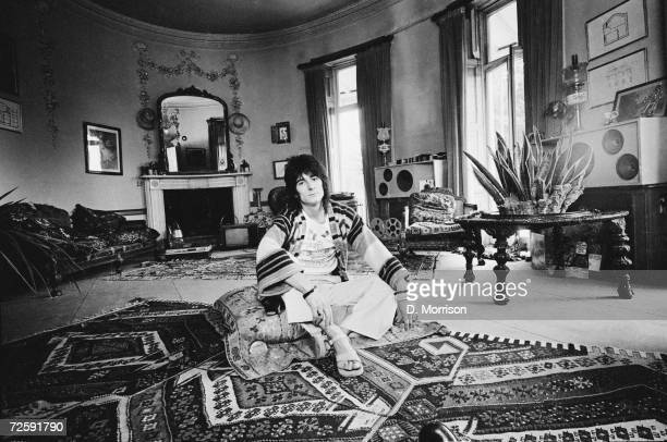 Rolling Stones guitarist Ron Wood at 'The Wick' his home in Richmond Middlesex 25th July 1974