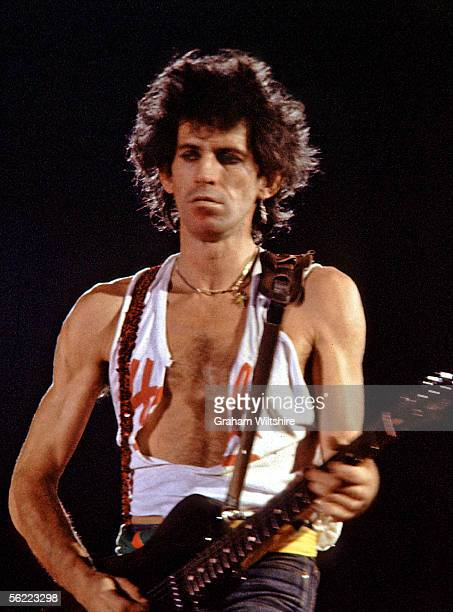 Rolling Stones Keith Richards performs on stage at the Syracuse Carrier Dome Syracuse New York State 27th November 1981