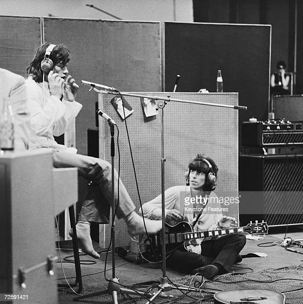 Rolling Stones Mick Jagger and Keith Richards at the Olympic Sound Studios while making Jean Luc Godard's semi documentary movie 'Sympathy for the...