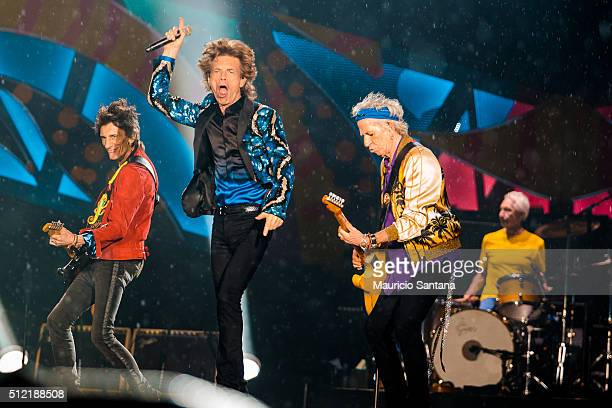 Rolling Stones performs live on stage at Morumbi Stadium on February 24 2016 in Sao Paulo Brazil