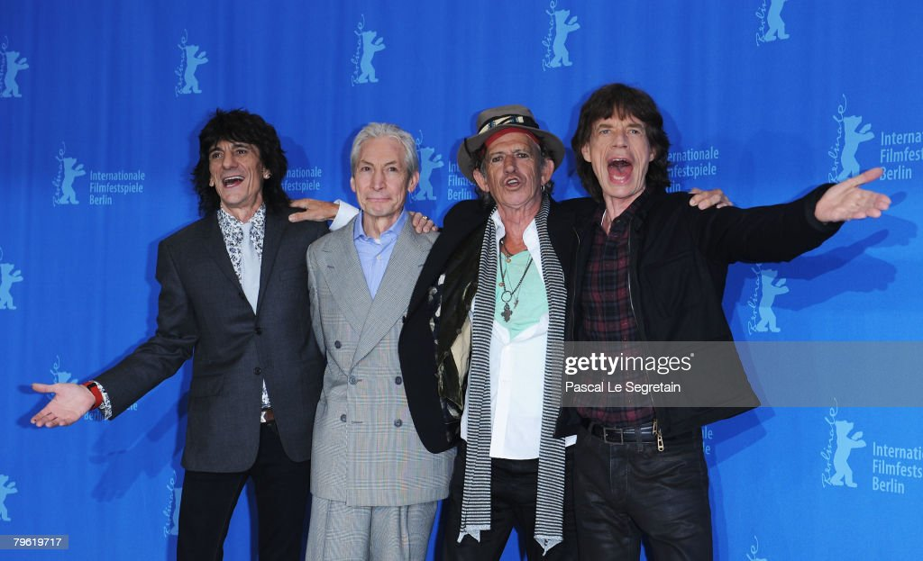 Rolling Stones singer Mick Jagger (R) and band mates Ronnie Wood, Charlie Watts and Keith Richards attend the 'Shine A Light' Photocall as part of the 58th Berlinale Film Festival at the Grand Hyatt Hotel on February 7, 2008 in Berlin, Germany.