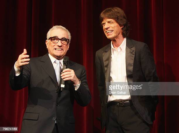 Rolling Stones Singer Mick Jagger and director Martin Scorsese speak to the public on stage shortly before the premiere of 'Shine A Light' at the...