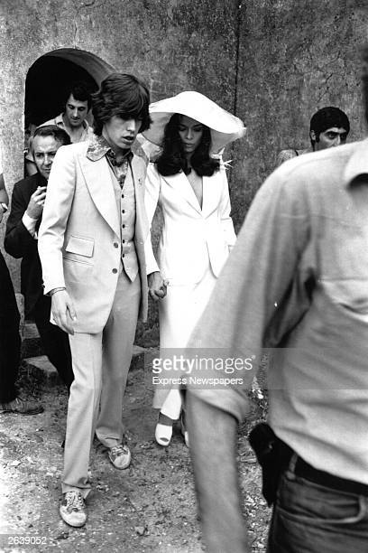 Rolling Stones singer Mick Jagger and his wife Bianca shortly after their wedding ceremony in St Tropez