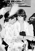 Rolling Stones singer Mick Jagger backstage with his wife Bianca in Hamburg Germany on October 02 1973