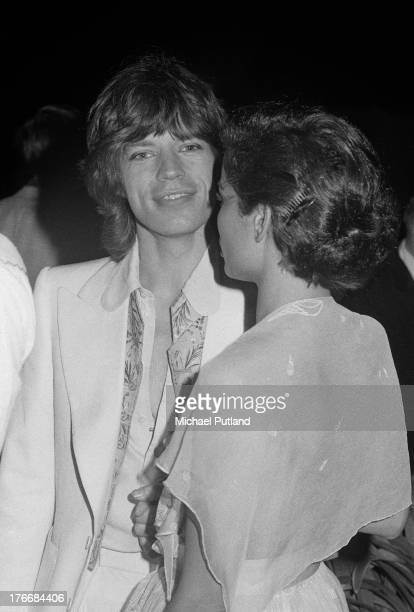 Rolling Stones singer Mick Jagger with his wife Bianca at a promotional party for the group's album 'Goats Head Soup' at Blenheim Palace Oxfordshire...