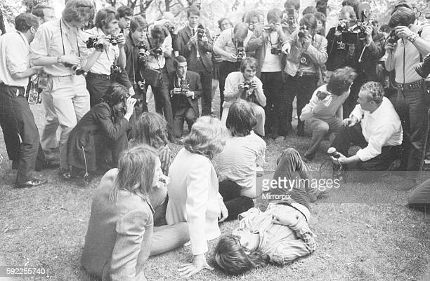 The photocall Introducing Mick Taylor who took Brian Jones place in the band to press in Hyde Park 13 June 1969