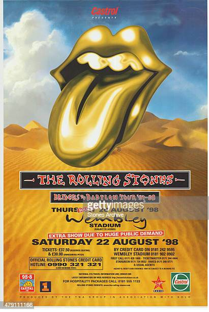 Rolling Stones Tour Poster from 1998 This poster will form part of The Rolling Stones 'Exhibitionism' at London's Saatchi Gallery Mick Jagger Keith...