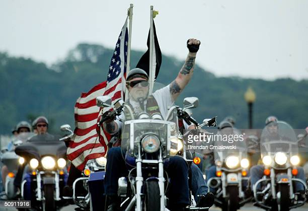 Rolling Thunder Bikers Pay Their Respects At Vietnam Memorial