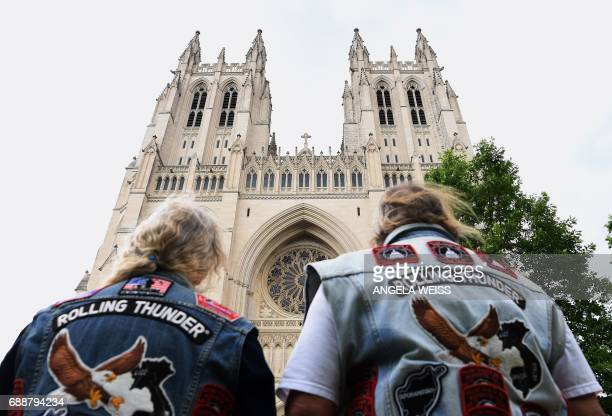Rolling Thunder members arrive for the 'Blessing of the Bikes' at the Washington National Cathedral May 26 2017 in Washington DC / AFP PHOTO / ANGELA...