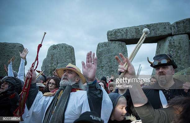 Rollo Maughfling Archdruid of Stonehenge Britain conducts a ceremony as druids pagans and revellers gather in the centre of Stonehenge hoping to see...