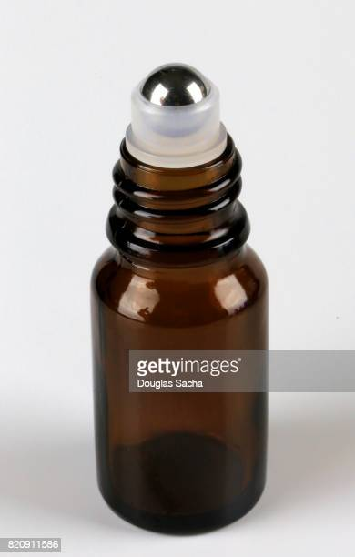 Roll-on applicator on a Essential health oil bottle