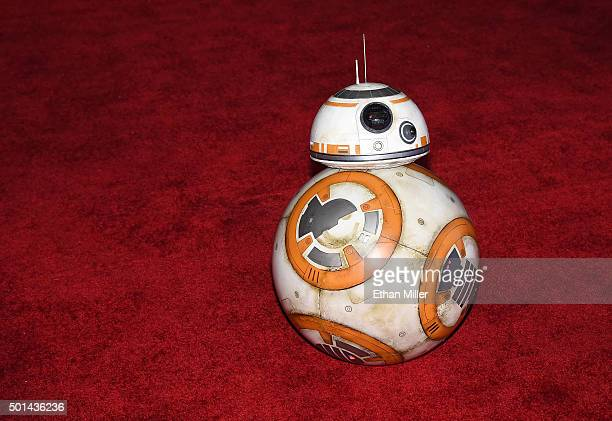BB8 rolls down the red carpet at the premiere of Walt Disney Pictures and Lucasfilm's 'Star Wars The Force Awakens' at the Dolby Theatre on December...
