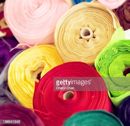 Rolls of colorful textile : Stock Photo
