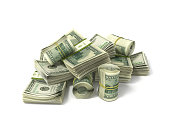 rolls of dollars and stacks of bills isolated on white