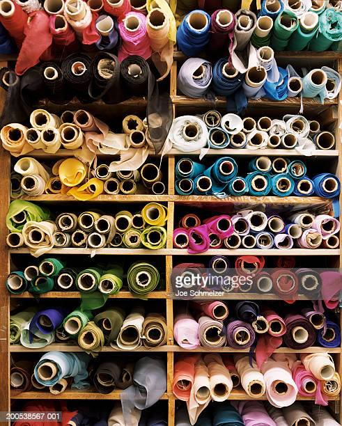 Rolls of fabric in store