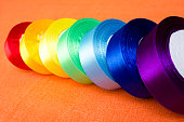 Rolls of satin ribbons multicolored - for hobbies, crafts
