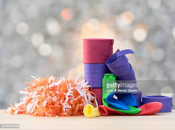 Rolls of streamers, confetti and  balloons of colors to celebrate a holiday