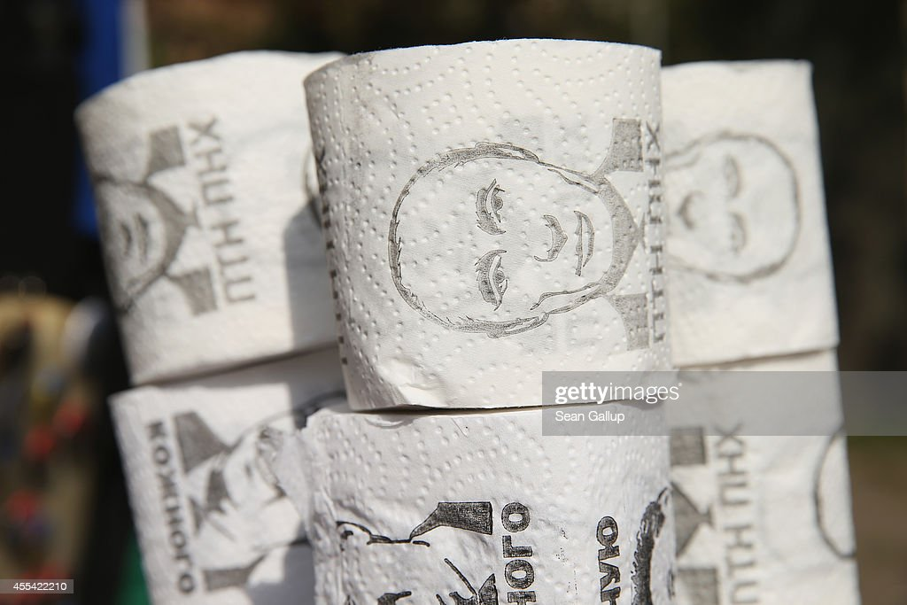 Rolls of toilet paper printed with a portrait of Russian President Vladimir Putin stand for sale at a vendor's stall on September 14, 2014 in Lviv, Ukraine. Sporadic fighting is continuing in eastern Ukraine between pro-Russian separatists and the Ukrainian army. Many people in Ukraine doubt the current ceasefire overtures will lead to an end to the war and blame Putin for stoking the violence.