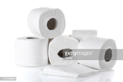 rolls of white toilet paper
